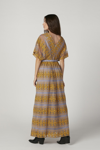 Iconic Printed Lace Maxi A-line Dress with Flared Sleeves