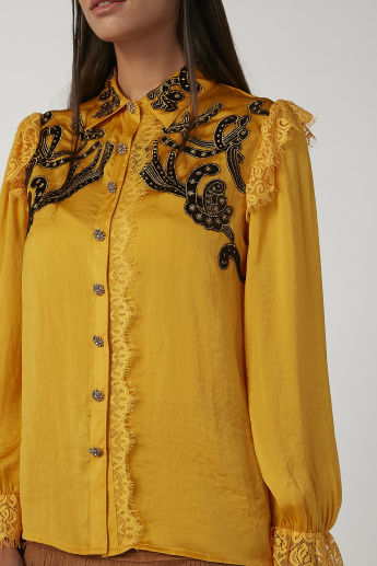 Iconic Embroidered Shirt with Spread Collar and Bishop Sleeves