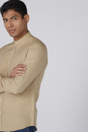 Bossini Mandarin Collar Shirt with Long Sleeves and Complete Placket
