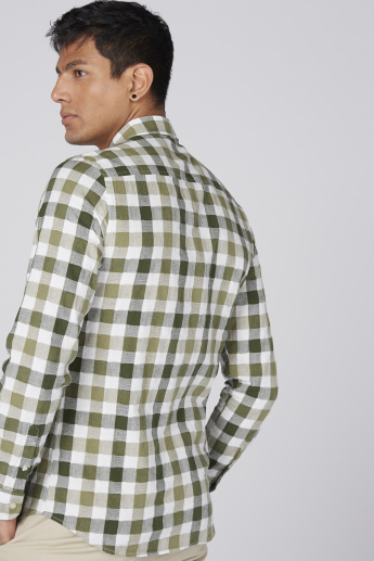 Bossini Chequered Shirt with Long Sleeves and Complete Placket