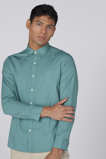 Spread Collar Shirt with Long Sleeves and Complete Placket