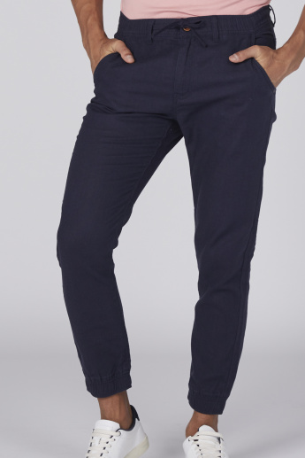 Bossini Pocket Detail Jog Pants with Button Closure and Drawstring