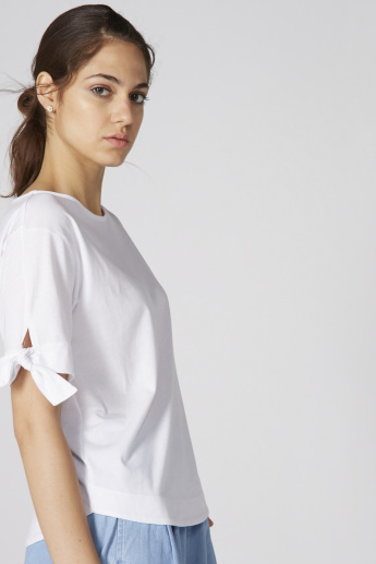 Bossini Round Neck Top with Tie Up Detail Sleeves