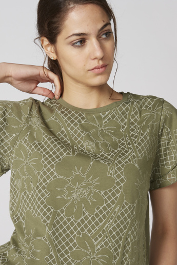 Bossini Printed Top with Round Neck and Flared Sleeves
