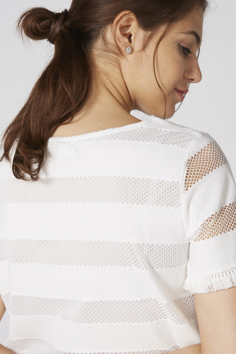 Bossini Striped Textured Top with Fringes