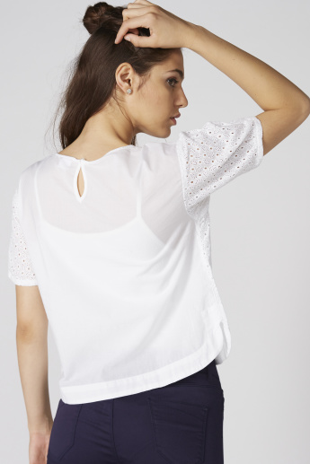 Bossini Schiffli Detail Top with Round Neck and Short Sleeves