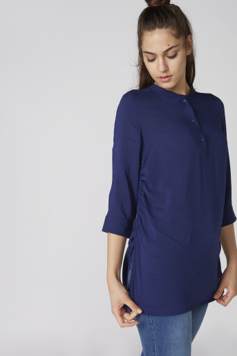 Ruching Detail Top with 3/4 Sleeves