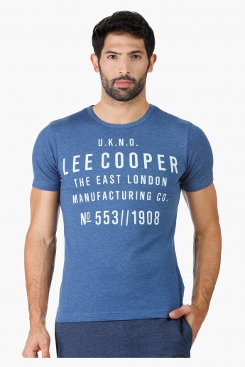 Lee Cooper Printed Muscle T-Shirt with Crew Neck and Short Sleeves