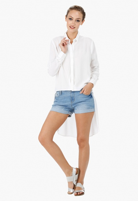 Rolled Up Shorts with 5-pocket Styling