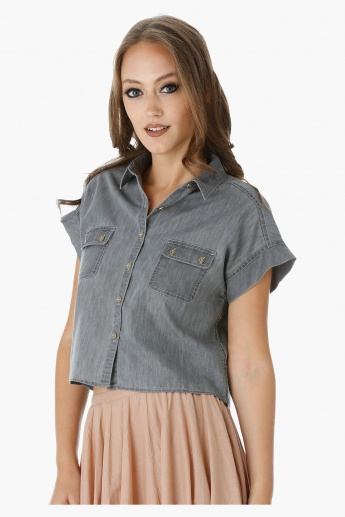 Lee Cooper Denim Boxy Shirt with Short Sleeves