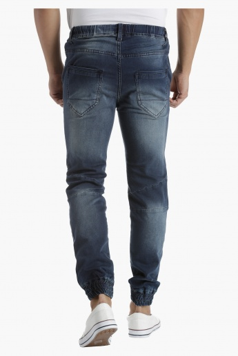 Lee Cooper Low Rise Denim Jogger Pants in Slim Fit