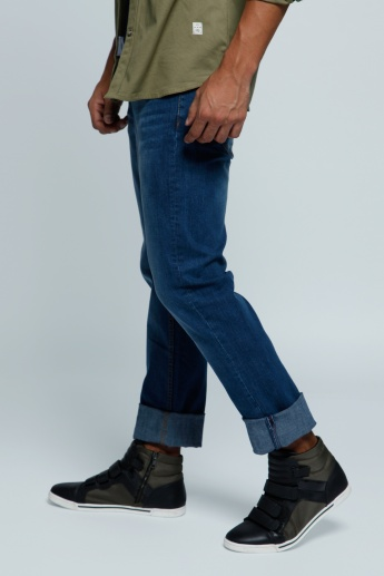 Lee Cooper Full Length Denim Pants with Button Closure