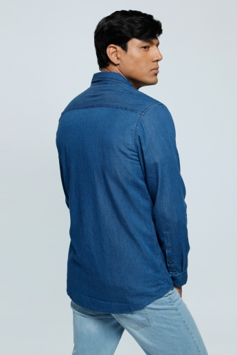 Lee Cooper Denim Shirt with Long Sleeves and Flap Pockets