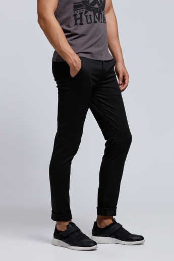 Full Length Chino Pants with Button Detail