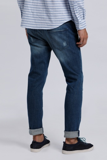 Lee Cooper Full Length Distressed Jeans with Button Closure