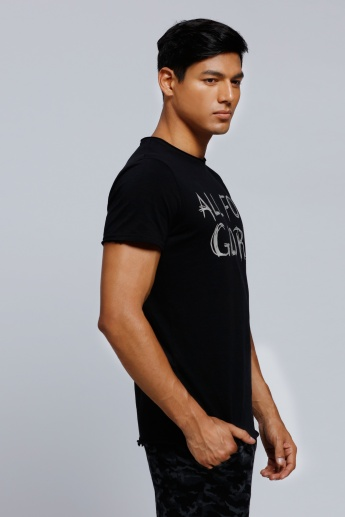 Lee Cooper Printed Crew Neck T-Shirt with Short Sleeves