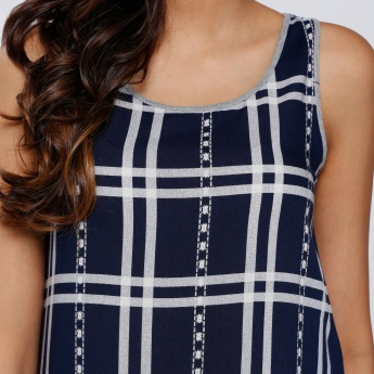 Lee Cooper Chequered Sleeveless Top with Round Neck