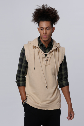 Lee Cooper Sleeveless Sweatshirt with Hood and Drawstring Detail