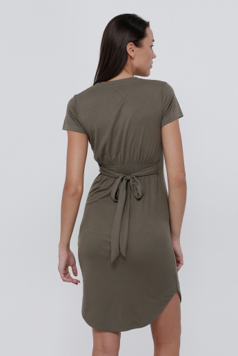Lee Cooper Ribbed Short Sleeves Dress with Tie-Up Detail