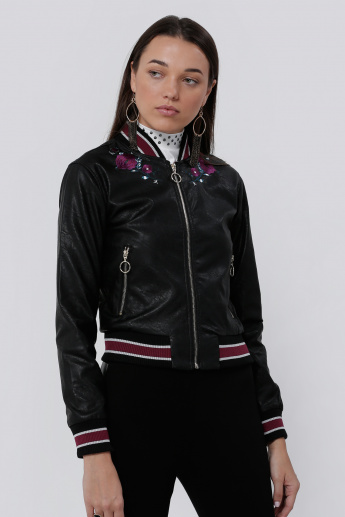 Lee Cooper Embroidered Jacket with Long Sleeves and Zip Closure