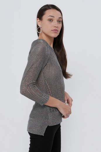 Lee Cooper Textured Round Neck Top with 3/4 Sleeves