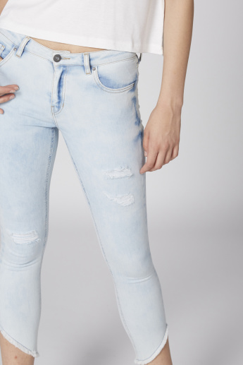 Lee Cooper Distressed Cropped Jeans with Button Closure