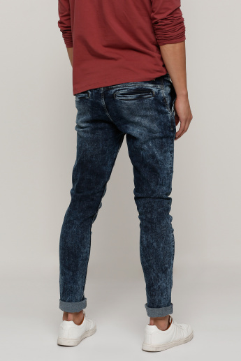 Lee Cooper Full Length Distressed Jeans with Pocket Detail