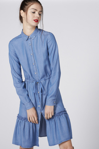 Lee Cooper Denim Shirt Dress with Long Sleeves and Tie Up Detail
