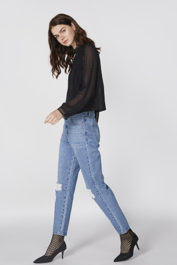 Lee Cooper Embellished Full Length Jeans with Button Closure