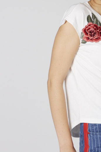 Lee Cooper Embellished T-Shirt with Appliques and Extended Sleeves