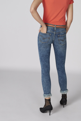 Lee Cooper Cropped Jeans with Frayed Grazers and Belt
