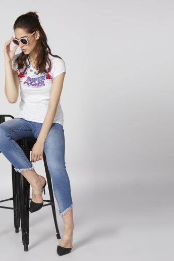 Lee Cooper Embroidered T-Shirt with Round Neck and Short Sleeves