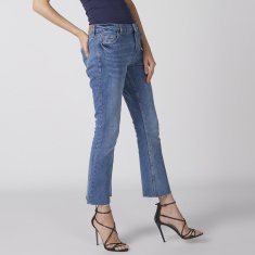 Cropped Jeans with Button Closure