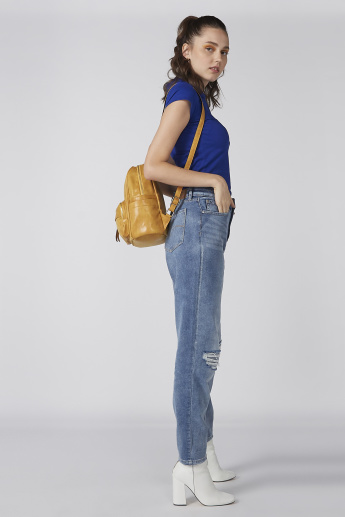 Distressed Jeans with Pocket Detail and Button Closure