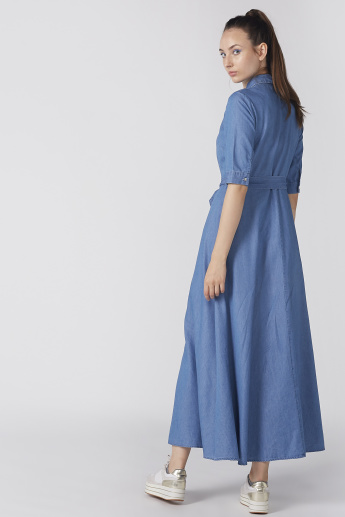 Short Sleeves Maxi Shirt Dress with Tie Ups