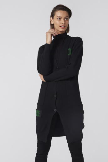 Longline Cardigan with Long Sleeves and Button Closure