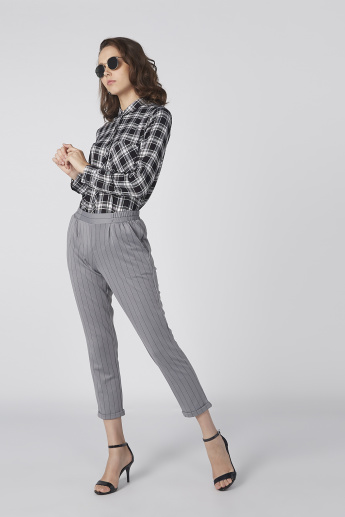 Chequered Long Sleeve Shirt with Pocket Detail