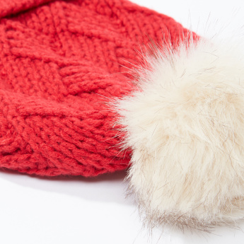 Lee Cooper Textured Beanie Cap with Pom-Pom Detail