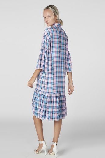 Chequered Midi Shift Dress with Flared Sleeves