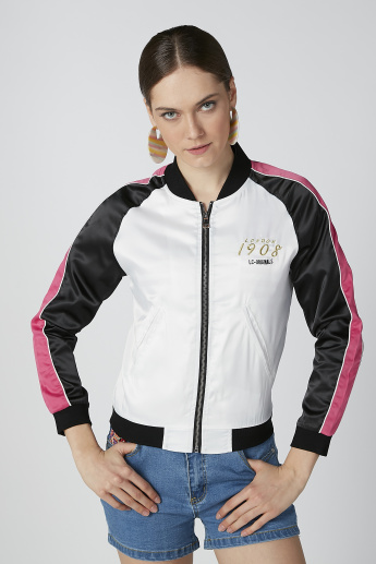 Applique Detail Bomber Jacket with Cuffed Long Sleeves