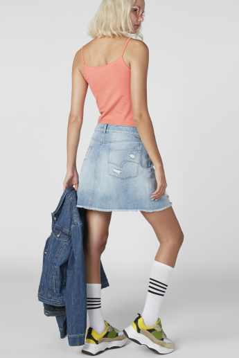Distressed Mini Shift Skirt with Pocket Detail