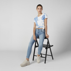 Sustainability Printed T-shirt with Round Neck and Cap Sleeves