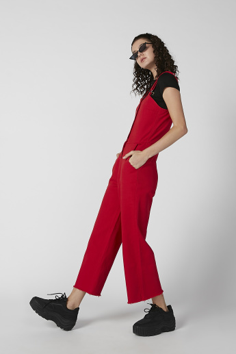 Plain Sleeveless Jumpsuit with Pocket Detail