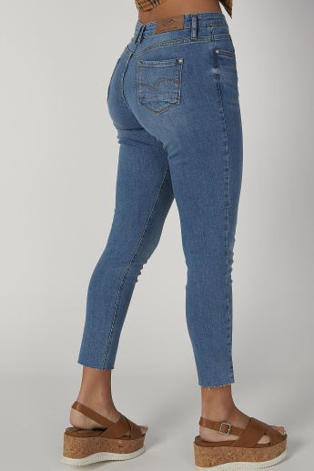 Sustainability Skinny Fit Distressed Mid Waist Jeans with Pockets