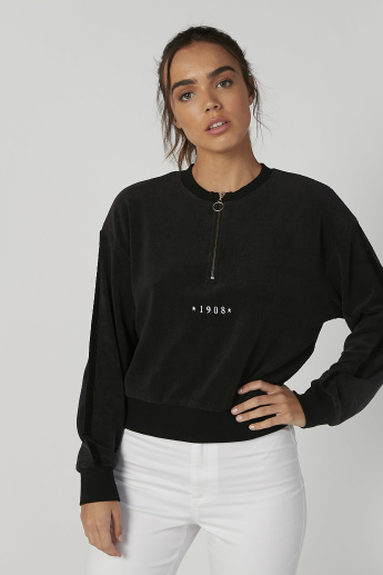 Sustainability Textured Sweatshirt with Long Sleeves and Zip Detail