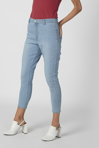 latest style of 2019 new product good looking Skinny Fit Cropped High Waist Jeans with Pocket Detail and Belt Loops