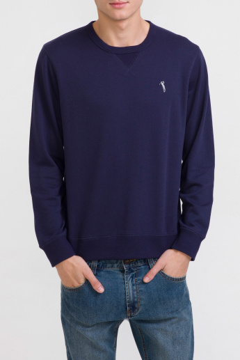 Bossini Round Neck Sweatshirt with Long Sleeves and Elbow Patch Detail