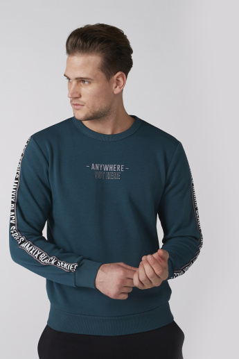 Bossini Tape Detail Sweatshirt with Round Neck and Long Sleeves