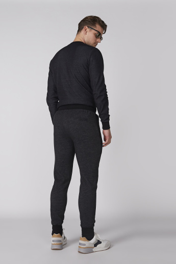 Bossini Textured Jog Pants with Drawstring and Pocket Detail
