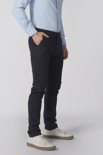 Bossini Textured Full Length Trousers with Pocket Detail